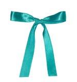 Single satin blue bow i Stock Image