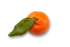 Single Satsuma fruit clipping path white background Stock Photos