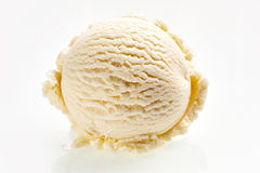Single Scoop of Vanilla Ice Cream. High Angle Still Life of Single Scoop of Vanilla Ice Cream Served on White Background Royalty Free Stock Image