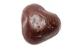Single scratched chocolate heart Royalty Free Stock Photography