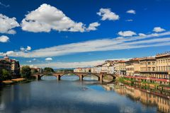 Row Boat on the Arno River Royalty Free Stock Images