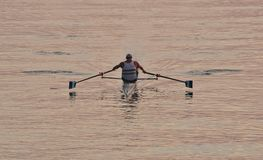 Single sculler inside breakwater on Lake Ontario near Humber River just after dawn Stock Photo