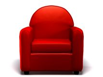 Single seat sofa. Red sofa on white background. Single seated Royalty Free Stock Photo