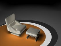 Single seat - sofa. Single seated sofa on brown circle. Picture include 2 clipping paths: one for sofa and one just for leather parts vector illustration