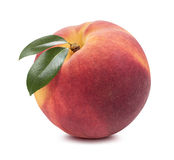 Single separate peach isolated on white background Royalty Free Stock Photos