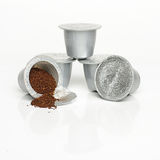 Single-serve coffee capsules isolated Stock Photo