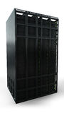 Single server rack. On a white background facing the front Royalty Free Stock Image