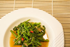 Single Serving of Chinese Vegetables on a white Plate. Stir fired Chinese cabbage with oyster sauce royalty free stock photos
