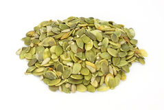 Single serving of raw pumpkin seeds Stock Photos