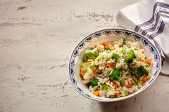 Single serving of risotto rise bus broccoli Royalty Free Stock Image