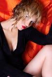 Single woman. In black dress royalty free stock photo