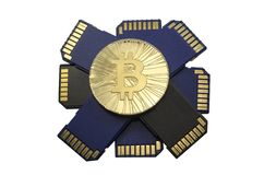 Single shiny gold Bitcoin coin with memory cards  on white backg Stock Photo