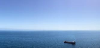 Single ship on ocean panorama Stock Image