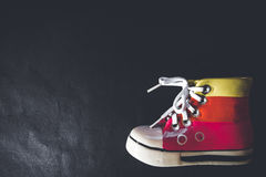 Single shoe arranged on the bottom right corner for this shot. A pair of shoes shot from above Royalty Free Stock Image