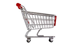 Single shopping trolley side view isolated Royalty Free Stock Photos