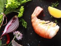 Single Shrimp Meat on Black Table Royalty Free Stock Photos