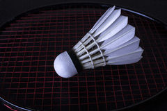 Single shuttlecock with a racket Royalty Free Stock Images