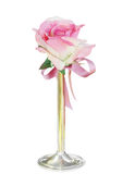 Single Silk Rose in Vase Stock Photography