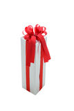 Single silver gift box with red ribbon isolated on white backgro Stock Image