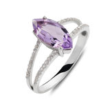 Single silver ring with cat eye shaped gemstone Royalty Free Stock Photo