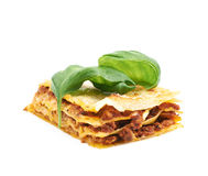 Single slice of lasagna isolated Stock Image