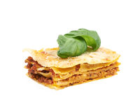 Single slice of lasagna isolated Royalty Free Stock Image