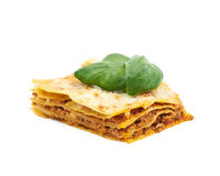Single slice of lasagna isolated Royalty Free Stock Photo