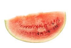 Single slice of a watermelon fruit isolated Royalty Free Stock Photography