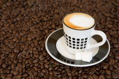 Single small coffee cup on coffee beans background royalty free stock images