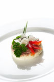 Single snack on white dish Stock Image
