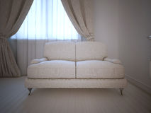 Single sofa in room, daylight Stock Photography