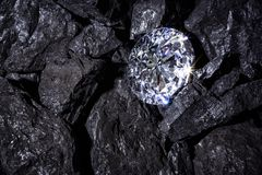Diamond amongst Coal. A single solitaire Diamond in amongst some pieces of coal Stock Image