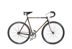 Single speed. Isolated photography of wooden cycle Stock Photos