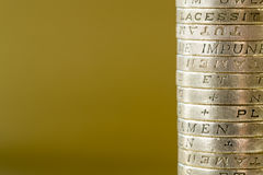 Single Stack of British Pound Coins Stock Image