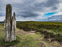 Single Standing Stone, Ring of Brodgar. A single standing stone occupies the left hand side of this image captured at the Ring of Brodgar, Ness of Brodgar Royalty Free Stock Photography