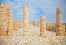 Single stanging columns in the ruins Stock Photo