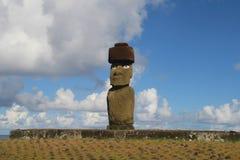 Single statue of Ahu Tahai, Ea. Ahu Tahai - the only ahu with Moai still having eyes on the Easter Island Stock Photography