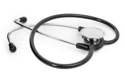 Single stethoscope on white Royalty Free Stock Photo