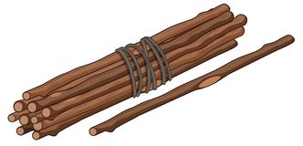 Single stick and bunch of sticks. Illustration vector illustration