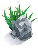 Single stone with grass Royalty Free Stock Photography