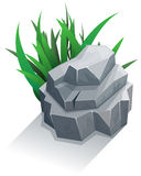Single stone with grass Royalty Free Stock Photos