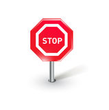 Single stop sign isolated on white Royalty Free Stock Images
