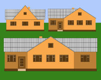 Single-storey houses. Rural one-storey houses on the background of sky and grass royalty free illustration