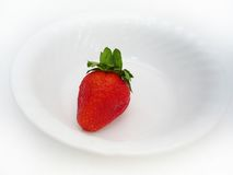 A single strawberry. One strawberry sitting in a white bowl, with a white background stock photography