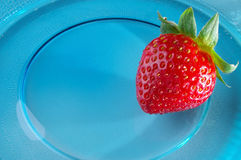Single strawberry. Presented on blue glass plate Royalty Free Stock Images