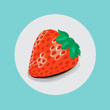 Single strawberry flat design Stock Photography