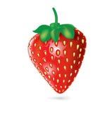 Single strawberry isolated on white Royalty Free Stock Photography