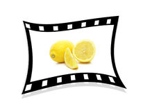 A single stretched film strip with lemons 3d. Stock Photos