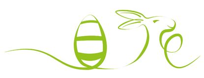 Single stroke easter holiday illustration with egg and Easter bunny Royalty Free Stock Photography