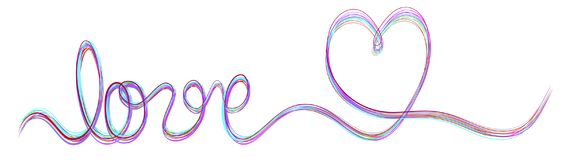 Single stroke multi color ribbon banner with word love and heart Stock Photos